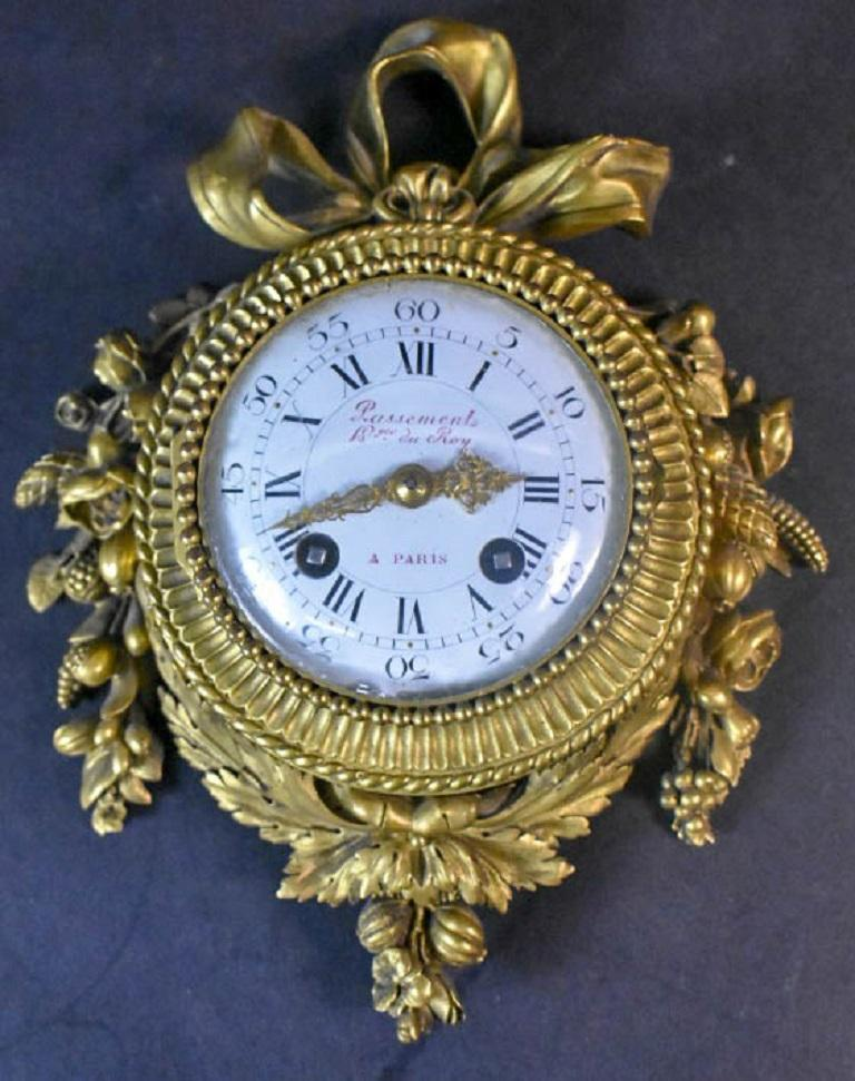 Late 19th Century Pair of Louis XVI Style Gilt Bronze Wall Clocks and Barometer For Sale