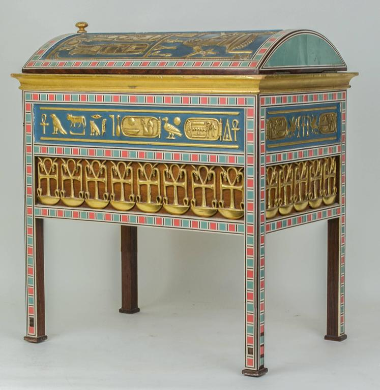 Egyptian Revival Footed Jewelry Box Humidor at 1stdibs