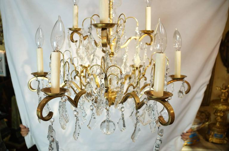 Nine Arm Crystal and Gilt Brass Louis XV Style Chandeliers