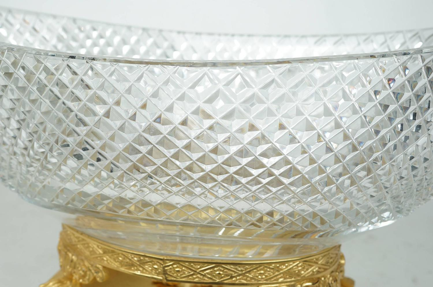 Oval cut crystal and bronze centerpiece for sale at stdibs