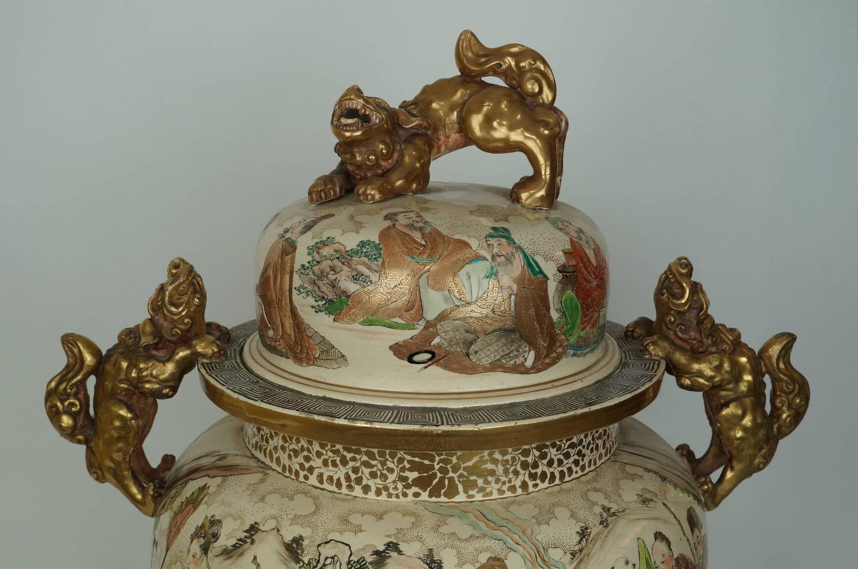 Large Antique Japanese Satsuma Koro Covered Urn With Foo