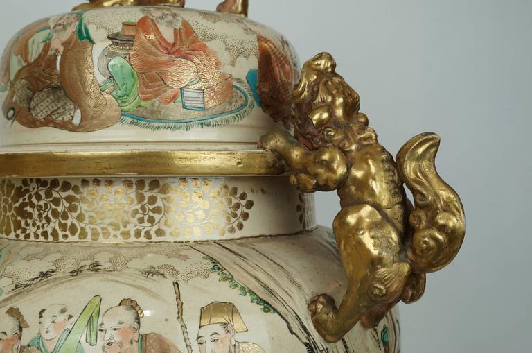 Large Antique Japanese Satsuma Koro Covered Urn With Foo Dog Handles And Cover At 1stdibs
