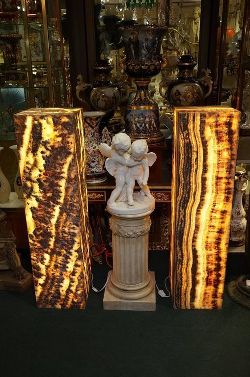 Pair of Onyx Pedestal Floor Lamps