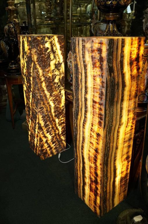 Wonderful Pair Of Onyx Pedestal Floor Lamps For Sale At 1stdibs