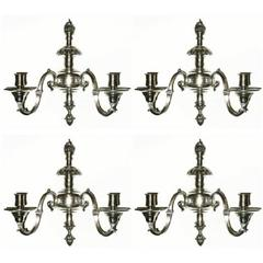 Set of Four Regency Style Silvered Bronze Two-Arm Sconces