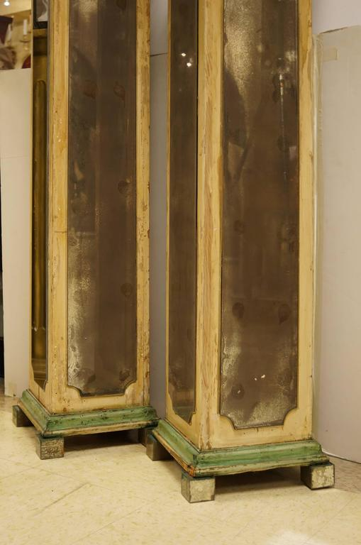 Exquisite Pair of Mirrored Pedestal Stands in Square Form Attributed to Jansen 5