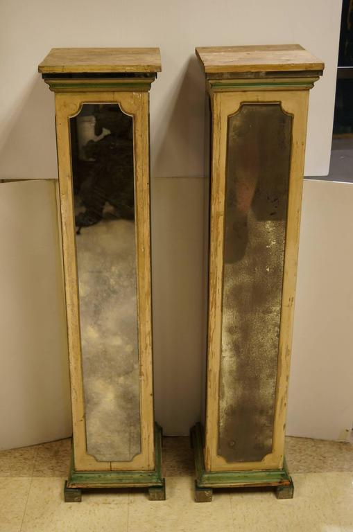 Exquisite Pair of Mirrored Pedestal Stands in Square Form Attributed to Jansen 2