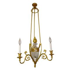 Louis XVI Style Three-Arm Bronze and Twisted Form Glass Chandelier
