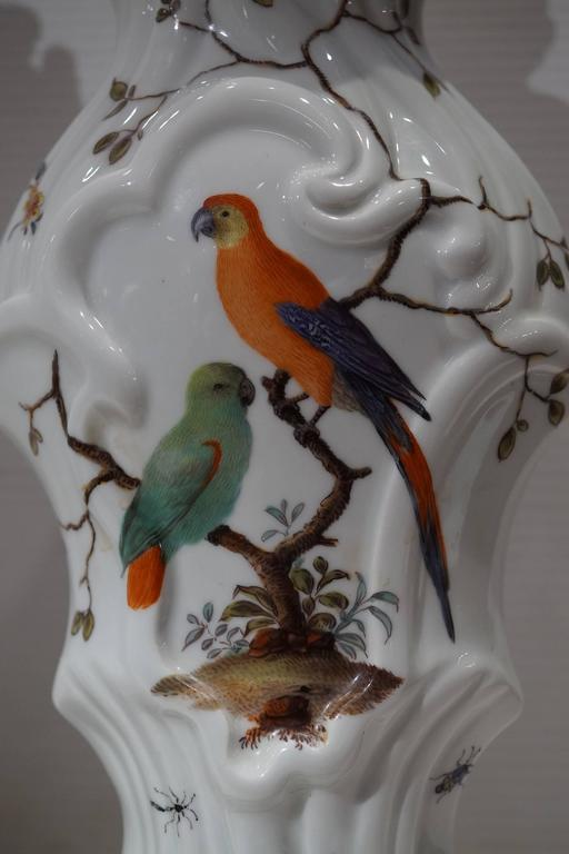 Pair of Aesthetic Painted Porcelain and Bronze Covered Urns with Bird and Flower For Sale 3