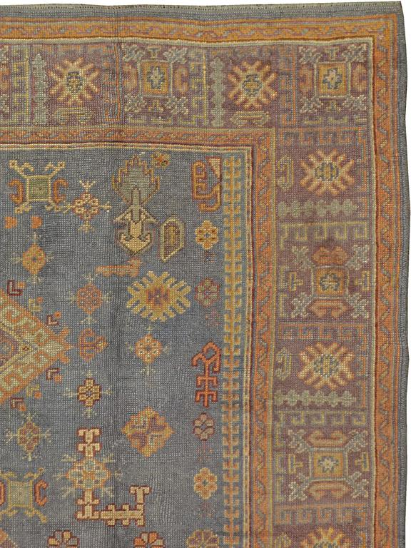 Hand-Knotted Vintage Turkish Oushak Rug For Sale