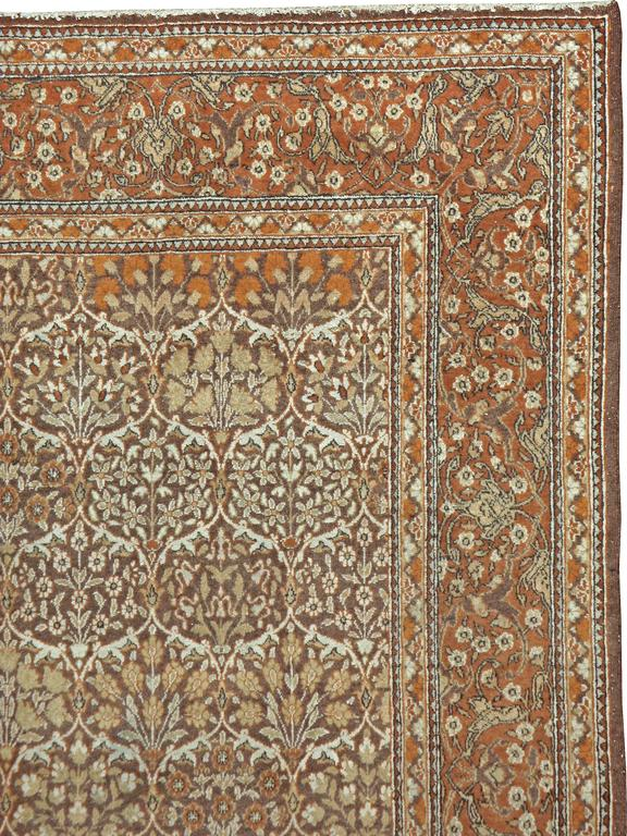 Hand-Knotted Vintage Persian Mashad Rug For Sale
