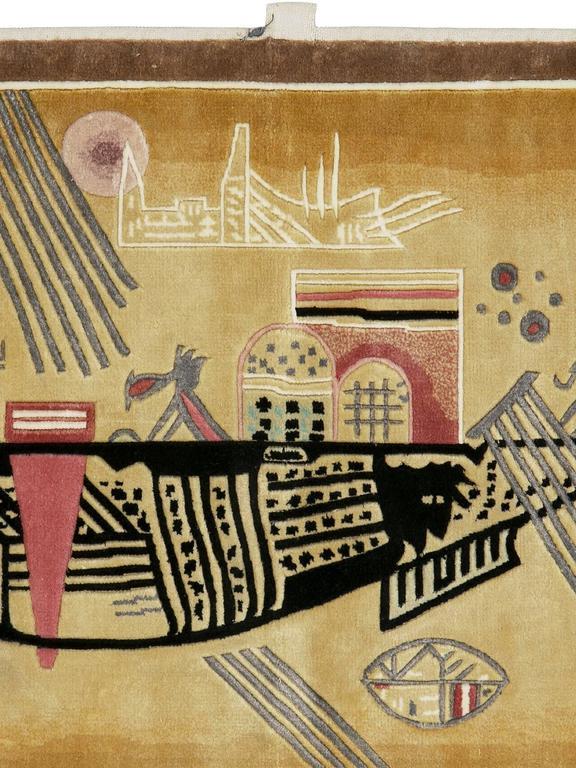 A modern silk wall hanging rug after Wassily Kandinsky's Capricious, circa 1930.