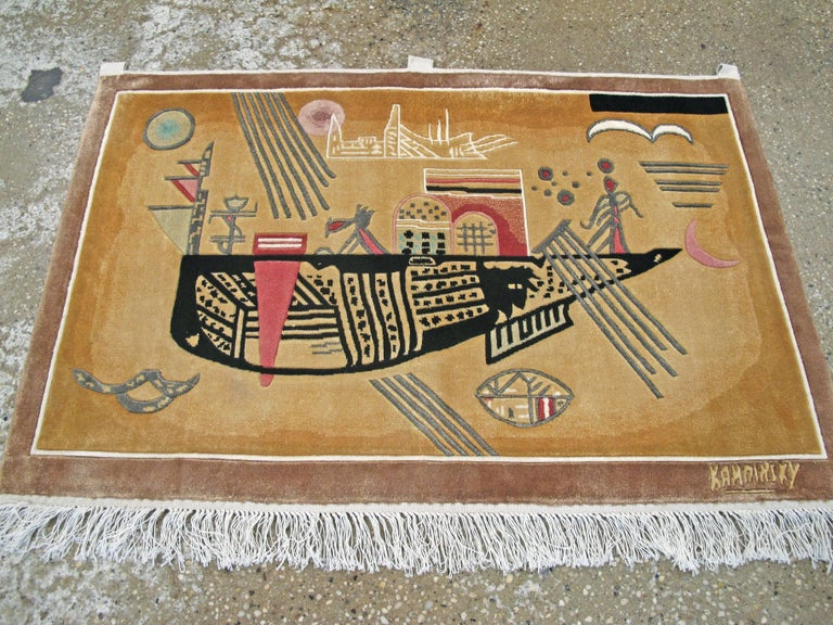 Hand-Woven Modern Wall Hanging Rug after Wassily Kandinsky For Sale