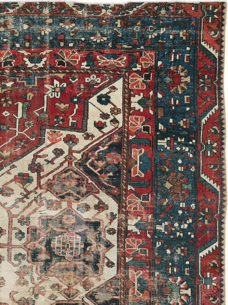 Hand-Knotted Antique Persian Bakhtiari Rug For Sale