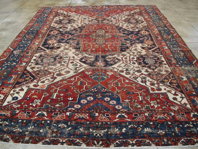 Antique Persian Bakhtiari Rug In Distressed Condition For Sale In New York, NY