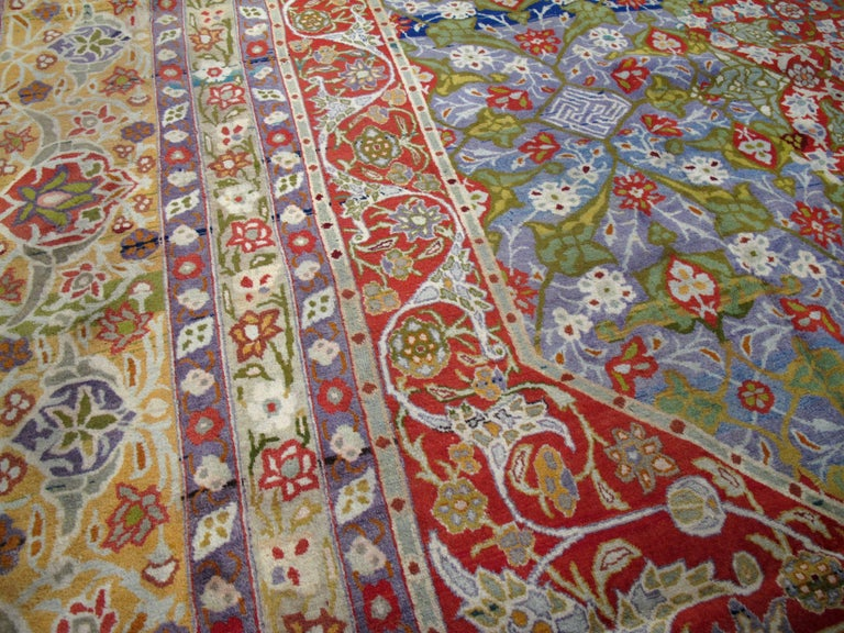 Wool Antique Persian Tabriz Rug For Sale
