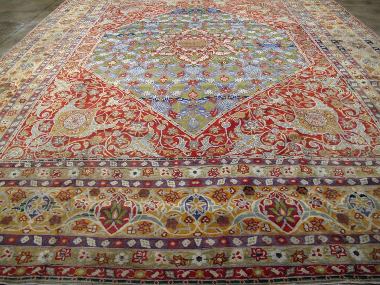20th Century Antique Persian Tabriz Rug For Sale