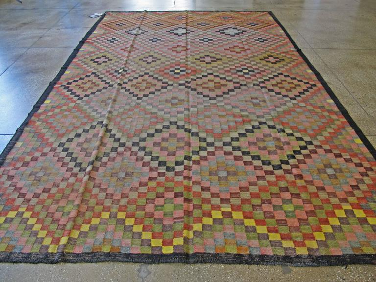 20th Century Vintage Persian Kilim Flat-Weave For Sale