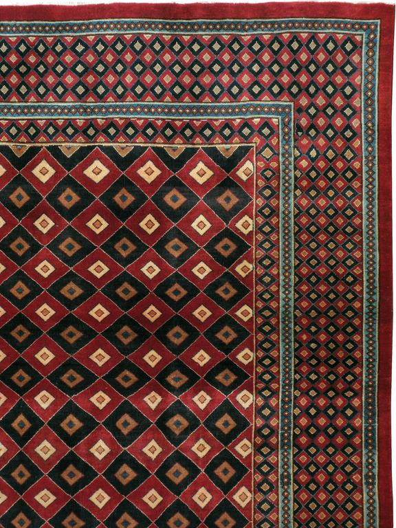 Pakistani Vintage Mashad Deco Style Rug For Sale