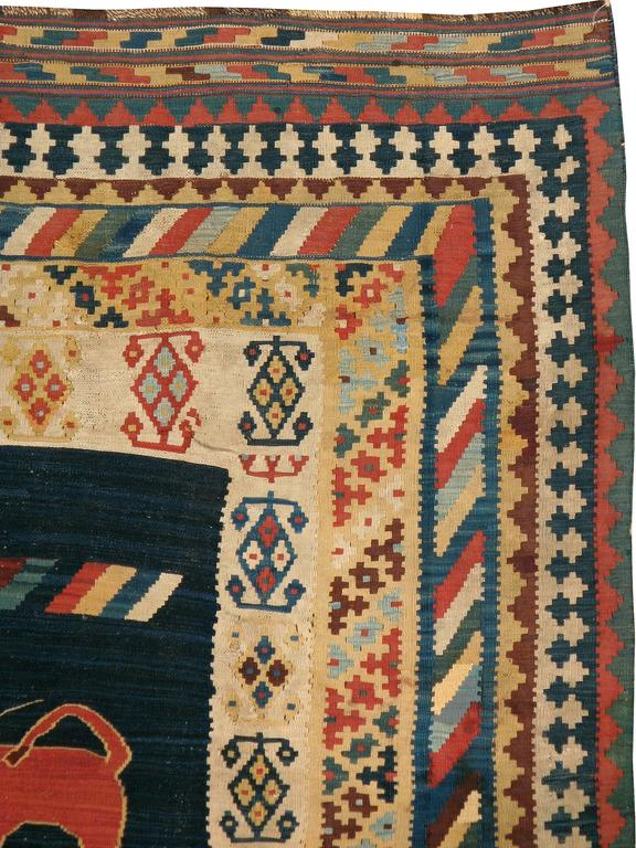 Antique Persian Kilim Flat-Weave Rug In Good Condition For Sale In New York, NY