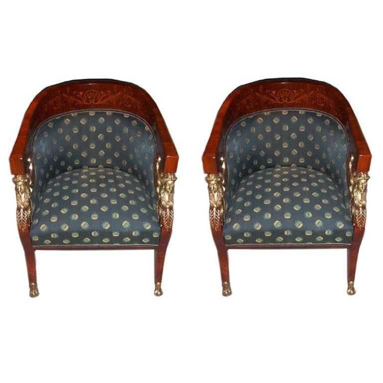 Two Empire revival chairs and matching loveseat – pieces were designed for the Hungarian Loire Tura Castle (designed by Miklos YBL) of the Baron Schlossberger Family and first made by the workshop of J. Danhauser (1780-1915), Vienna. Later pieces of