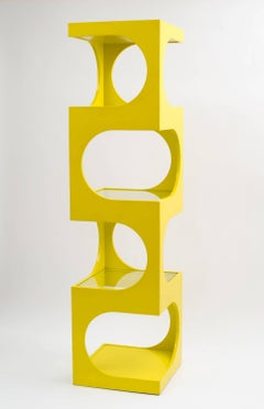Edward J Wormley for Dunbar Op Art Etagere / Bookcase in Original Yellow Lacquer