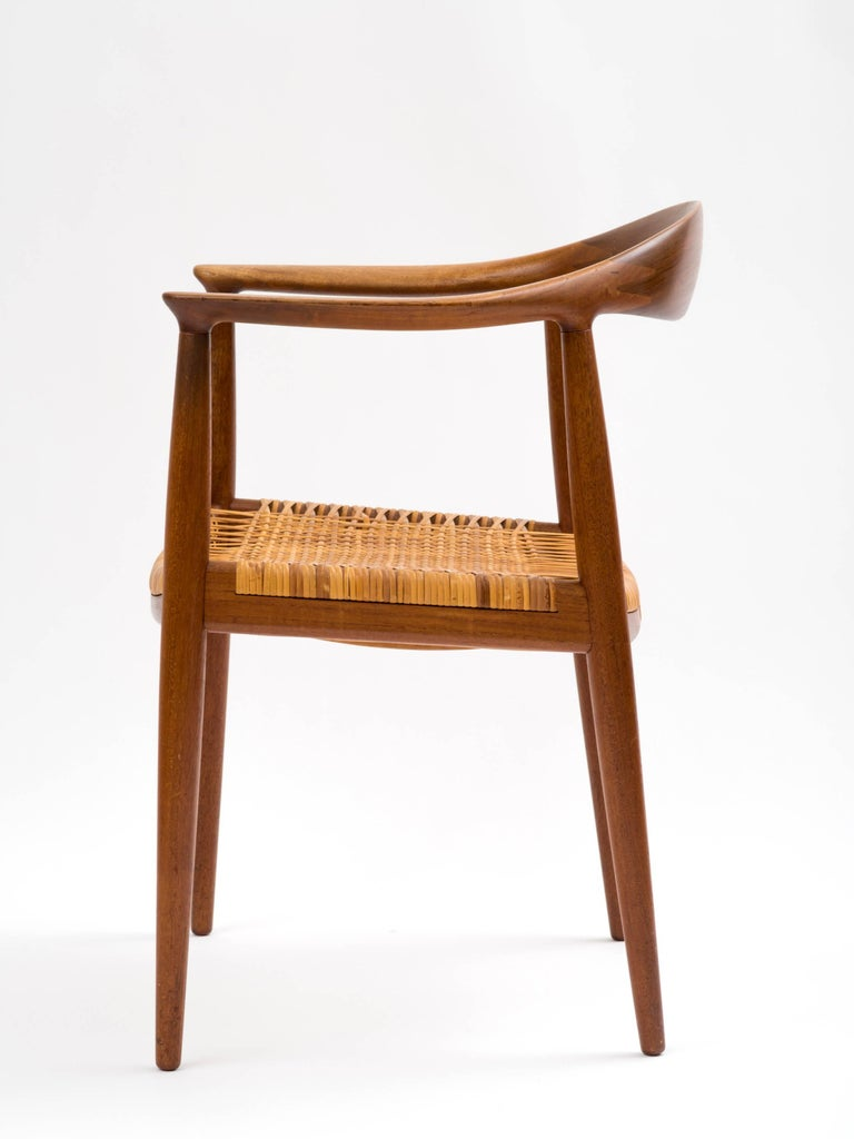 Danish Hans J Wegner The Chair Model JH501 in Teak with Original Cane Seat  For Sale