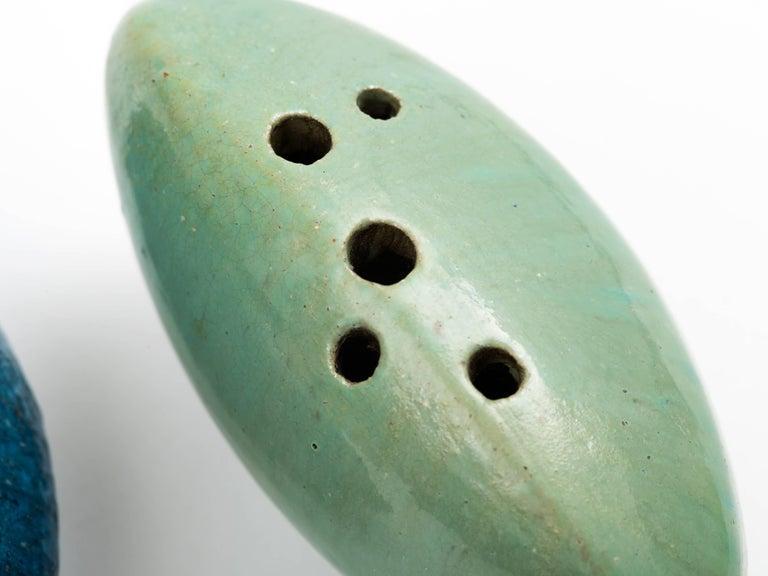 Renato Bassoli Pair of Glazed Ceramic 'Sassi' Vases, 1950s In Good Condition For Sale In Brooklyn, NY