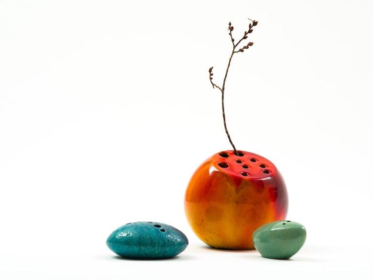 Mid-Century Modern Renato Bassoli Large Blood Orange Ceramic 'Sassi' Vase, 1950s For Sale