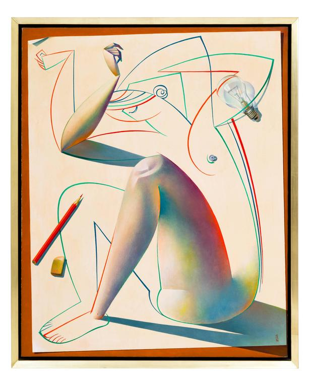 A captivating, original oil on canvas titled, The Birth of Form, by Russian painter, Georgy Kurasov (b. 1958), in its original gilded frame that fuses an illustrative-cubist style with pop art elements. Even nicer in person and in wonderful