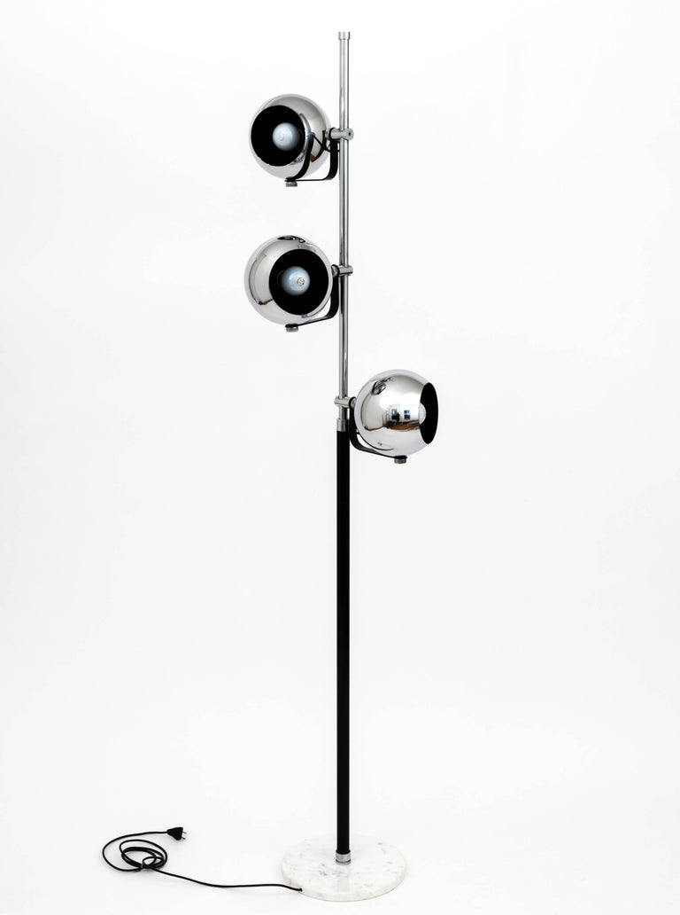 1960s italian triple light floor lamp with marble base after arredoluce for sale at 1stdibs