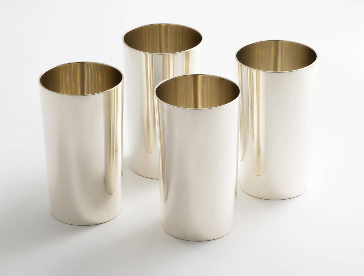 Four Perfectly Modern Tiffany Sterling Silver Tumblers For