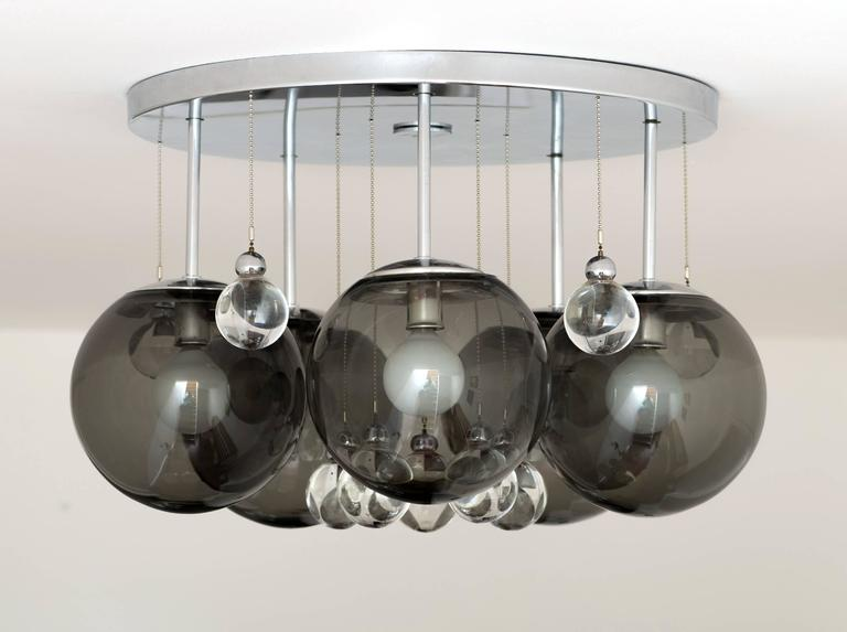 Mid-Century Modern Pair of Smoke and Clear Glass 'Bubbles' Chrome Flush Mount Chandelier Lights For Sale
