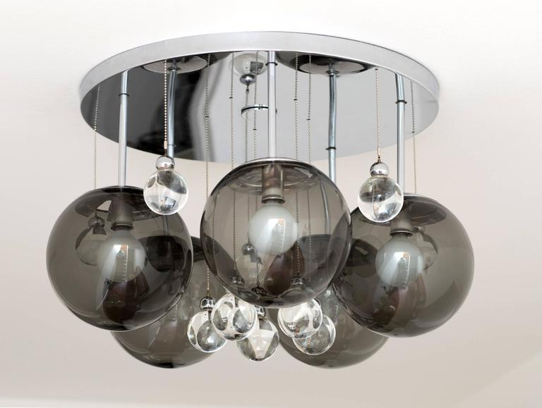 American Pair of Smoke and Clear Glass 'Bubbles' Chrome Flush Mount Chandelier Lights For Sale