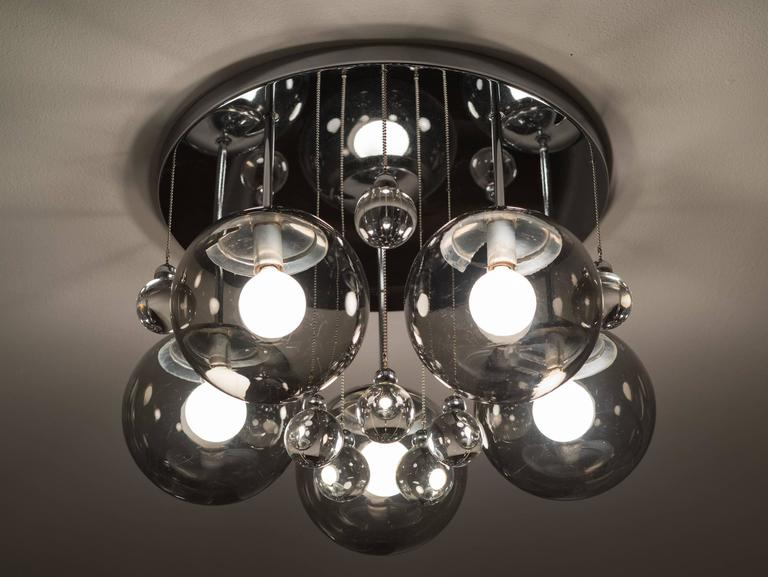 Mid-20th Century Pair of Smoke and Clear Glass 'Bubbles' Chrome Flush Mount Chandelier Lights For Sale
