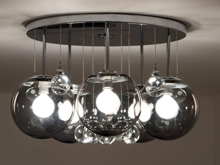 Pair of Smoke and Clear Glass 'Bubbles' Chrome Flush Mount Chandelier Lights For Sale 1