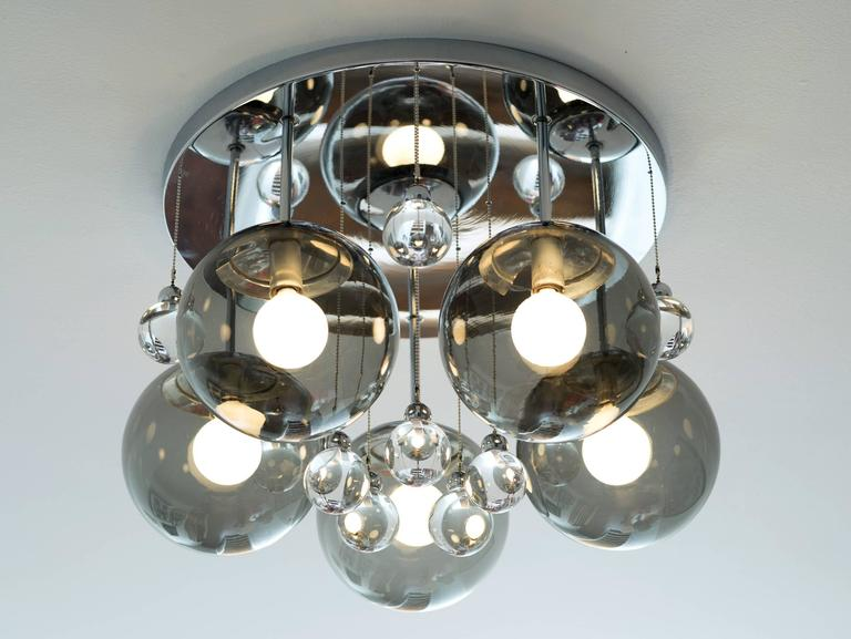 Pair of Smoke and Clear Glass 'Bubbles' Chrome Flush Mount Chandelier Lights In Good Condition For Sale In Brooklyn, NY