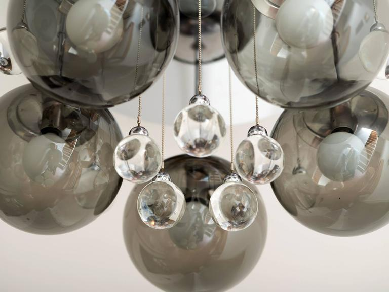 Pair of Smoke and Clear Glass 'Bubbles' Chrome Flush Mount Chandelier Lights For Sale 2