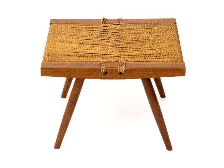 1950s George Nakashima Walnut And Woven Grass Seat Stool