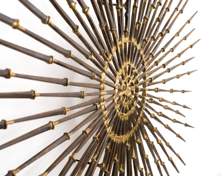 Gilded Metal Sunburst Wall Sculpture Art by Ron Schmidt, circa 1969 2
