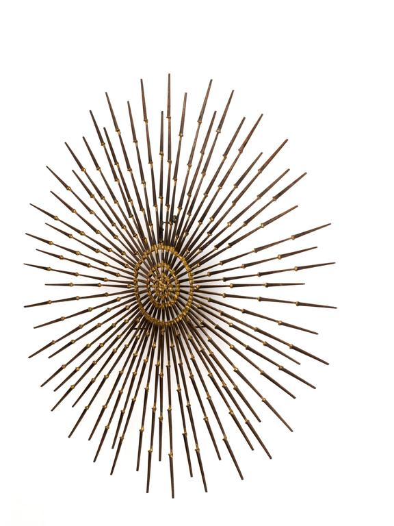 Gilded Metal Sunburst Wall Sculpture Art by Ron Schmidt, circa 1969 5
