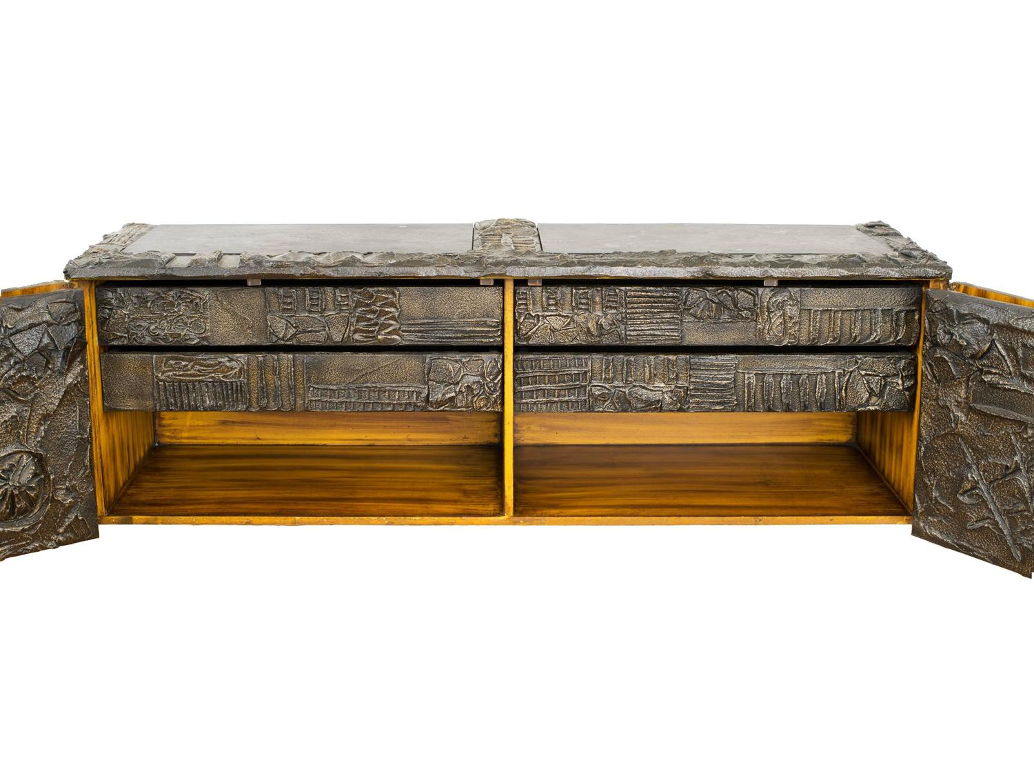 Paul Evans Matched Pair Of Sculpted Bronze Floating Cabinets W/ Pull Out  Drawers For Sale At 1stdibs