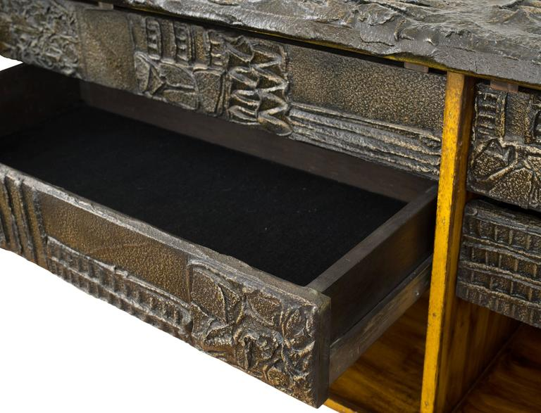 Paul Evans Matched Pair Of Sculpted Bronze Floating Cabinets W/ Pull Out  Drawers For