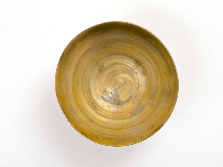 Modern Beatrice Wood Golden Luster Glaze Hand Thrown Ceramic Bowl, 1960s For Sale