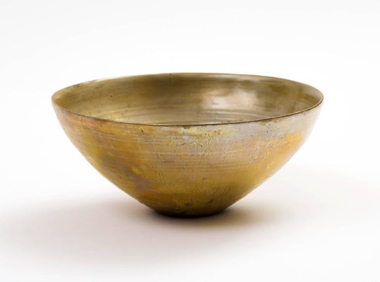 Glazed Beatrice Wood Golden Luster Glaze Hand Thrown Ceramic Bowl, 1960s For Sale