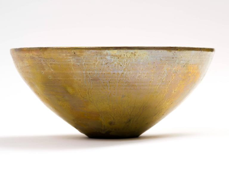 Beatrice Wood Golden Luster Glaze Hand Thrown Ceramic Bowl, 1960s In Good Condition For Sale In Brooklyn, NY