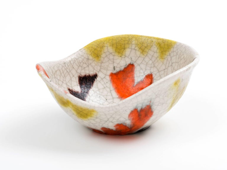 Mid-Century Modern Guido Gambone Free-Form Ceramic Bowl with Tribal Motif, 1950s For Sale