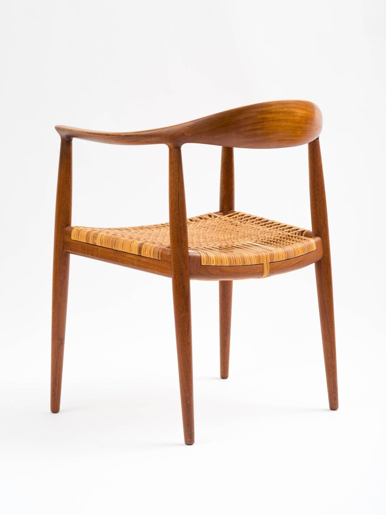 Hans J Wegner The Chair Model JH501 in Teak with Original Cane Seat  In Good Condition For Sale In Brooklyn, NY
