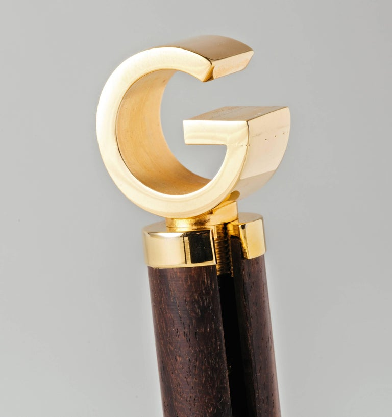 Modern 1960s Gucci Exotic Wood and Gold-Plated Brass Corkscrew For Sale
