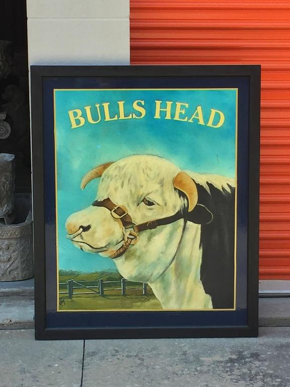 English Pub Sign Bulls Head At 1stdibs